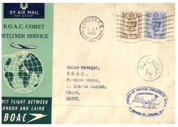 (225) UK Cover - First Flight From London To Cairo On B.A.O.C Comet Jetliner - Lettres & Documents