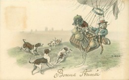 CHIENS.N°30038.BONNE ANNEE.CHIENS HUMANISES EN BALLON GONFLABLES ECHAPPANT A UNE MEUTE - Chiens