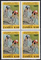 B0266 ZAMBIA 1992, SG 716 Olympic Games, Cyclng,  MNH Block Of 4 - Zambie (1965-...)