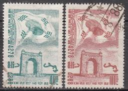 KOREA   SCOTT NO. 218-19       USED      YEAR  1955 - Corée Du Sud