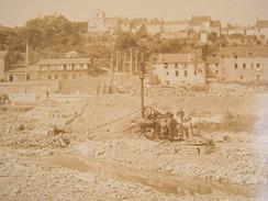 Photographie Photo Cpa Travaux Canal Roanne Briare Freycinet ? Ouvriers Machine A Vapeur Grand Format 38cm X 27cm - Photos