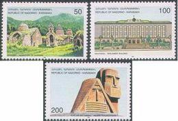 NAGORNO MOUNTAINOUS KARABAKH ARMENIA INDEPENDENCE 1996 SET OF 3 STAMPS AND 2 SOUV SHEETS MNH - Armenia