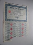 """MONNIER Et DESJARDIN ( Paris ) Action Srie """" B """" De 100 Francs Au Porteur N° 016,322 ( For Details See Photo ) !! - Shareholdings"""
