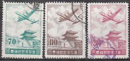 KOREA   SCOTT NO. C20-22     USED      YEAR  1957   GRANITE PAPER - Korea (Zuid)