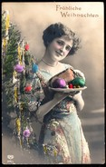 A3907 - Alte Foto Glückwunschkarte - Weihnachten - Hübsche Junge Frau - Pretty Young Women - Coloriert Schwertfeger EAS - Non Classificati