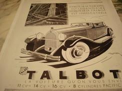 ANCIENNE PUBLICITE VOITURE TALBOT STABILITE DE LA TOUR EIFFEL  1931 - Voitures