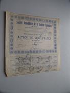 Soc. Immo De La BANLIEUE Lyonnaise ( Lyon ) Action De 100 Francs Au Porteur - N° 5687 - 1929 ( For Details See Photo ) ! - Actions & Titres