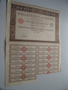 Pelleteries De MAREIL ( Paris ) Action De 100 Francs Au Porteur - N° 13,882 ( For Details See Photo ) !! - Actions & Titres