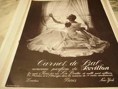 ANCIENNE PUBLICITE PARFUM CARNET DE BAL DE   REVILLON  1937 - Perfume & Beauty