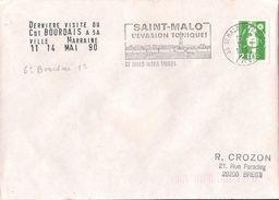MARCOPHILIE NAVALE DERNIERE VISITE DU COMMANDANT BOURDAIS A SA VILLE MARRAINE SAINT MALO LE 14 MAI 1990 - Marcophilie (Lettres)
