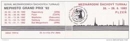 J0890 - Czechoslovakia (1992) Stamps Booklet: International Chess Tournament Mephisto GRAND PRIX '92 - Czechoslovakia