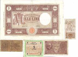 1000 LIRE BARBETTI 19 12 1946 + 1+5+5 LIRE 1943-1944 +2 LIRE VITT EM III° N°728 - Verzamelingen