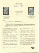 5 NOTICES Philatéliques D' ANDORRE (n°1 à 5) Avec 7 Timbres Neufs  Correspondants ...1977.....à Voir - Neufs