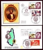LOT 2 FDC BONAPARTE- FRANCE- 4 TIMBRES DENTELÉS -CAD AJACCIO DU 16-8-69 + MUSÉE POSTAL + FLAMME - Napoleon