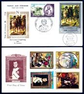 2 FDC NAPOLÉON 1er- YEMEN + GRENADA- TIMBRES DENTELÉS- CAD DU BICENTENAIRE1969 ET 1971 - - Napoleone