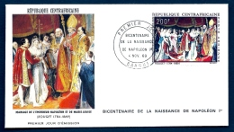 FDC NAPOLÉON 1er- REPUBLIQUE DE CENTREAFRIQUE- TIMBRE DENTELÉ 200 FR - CAD DU BICENTENAIRE  BANGUI  1969 - Napoleon