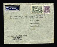 A4971) Niederlande Netherlands Luftpostbrief Rotterdam 15.10.39 Süd-Rhodesien - 1891-1948 (Wilhelmine)