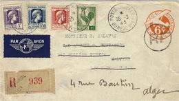 1945- Enveloppe RECC. De La Poste Navale Bureau N°83 ( ORAN ) Sur E P 6 C. Oblit. R F  Pour N Y Puis Retour Avion Alger - Marcophilie (Lettres)