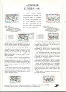 7 NOTICES Philatéliques D' ANDORRE (n°1 à 7) Avec 13 Timbres Neufs  Correspondants .1981 .......à Voir - Andorre Français