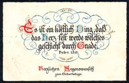A8037 - Alte Glückwunschkarte - Geburtstag - Spruchkarte Hebr. 13,9 - Wilhelm Froese Berlin Steglitz Nr. 295 - Gel 1940 - Anniversaire