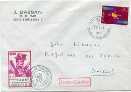 FRANCE LETTRE AVEC TIMBRE DE GREVE LYON 1F TAXE D'ACHEMINEMENT GREVE PTT 1974 AVEC OBL. COURRIER COMMERCIAL 15 NOV 1974 - Marcophilie (Lettres)