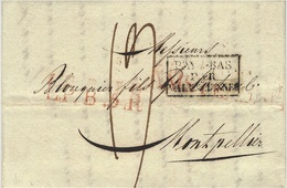 1819- Etter From Amsterdam To Montpellier ( France )  L.P . B .5 .R  Red  + French Entrance PAYS BAS / PAR /VALENCIENNES - ...-1852 Prephilately
