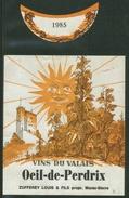 Rare // Etiquette // Oeil De Perdrix 1985, Louis Zufferey, Muraz-Sierre, Valais,Suisse - Etiquettes
