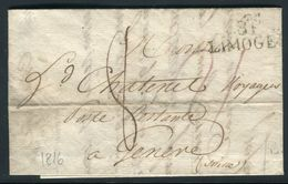 France - Lettre Avec Texte De Limoges Pour La Suisse En 1816 - Ref 074 - 1701-1800: Precursors XVIII
