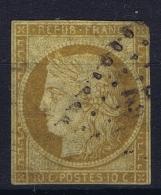 France: Yv Nr  1 C Bistre Verdaine Foncé   Coin Droit à Mince Obl./Gestempelt/used - 1849-1850 Ceres