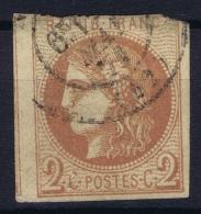 France: Yv Nr 40 B Obl./Gestempelt/used Mince Au Top - 1870 Uitgave Van Bordeaux