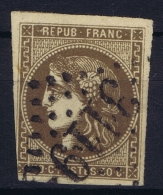 France: Yv Nr 47 D Brun Foncé  Mi Nr 42 A  Obl./Gestempelt/used - 1870 Bordeaux Printing