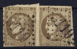 France: Yv Nr 47 Mi Nr 42 A  Obl./Gestempelt/used Pair GC 3119 Revel - 1870 Bordeaux Printing