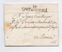 !!! PRIX FIXE : DEPT CONQUIS, 116 DEPT DU TIBRE, MARQUE POSTALE DE CIVITA VECCHIA SUR LETTRE SANS TEXTE - Postmark Collection (Covers)