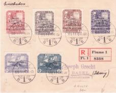 Raccomandata Per La Svizzera Con Sei Valori Serie Fond. Studio Scritta Caratteri Grossi  G277 - 8. WW I Occupation