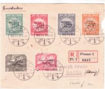 Raccomandata Per La Svizzera Con 80 Su 80 Violetto Serie Fond. Studio Scritta Caratteri Grossii  G279 - 8. Ocupación 1ra Guerra
