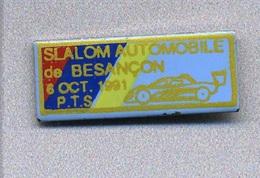 Pin's  Sport  Automobile, SLALOM  AUTOMOBILE De BESANÇON 6 OCT. 1991  Avec  P.T.S  Peugeot  Talbot  Sport - Rallye