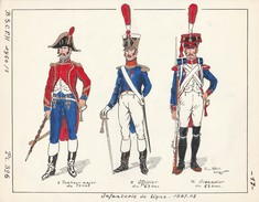 Planche Aquarellee Infanterie De Ligne 1807 1808 - Uniformen