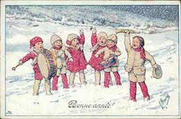 AK Karl Feiertag, Bonne Année, Musizierende Kinder, Schneegestöber, O 1922 (24547) - Feiertag, Karl