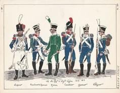 Planche Aquarellee Le 5 Eme Regiment D'infanterie Legere 1812 1813 - Uniforms