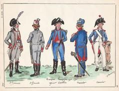 Planche Aquarellee Troupes Francaises 1794 1795 - Uniforms