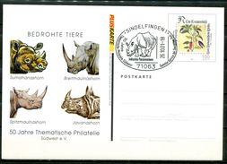 """Germany 2001 Pluskarte Mi.Nr.PSo 77 II """"Bedrohte Tiere"""" Mit SST""""Sindelfingen-Indisches Panzernashorn""""1 Beleg - Rhinozerosse"""