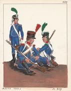 Planche Aquarellee Infanterie Légére Sous Le Consulat - Uniforms