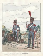 Planche Aquarellee Artillerie A Cheval 1809 1812 - Uniformen
