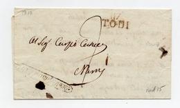 !!! PRIX FIXE : DEPT CONQUIS, 117 DEPT DU TRASIMENE, MARQUE POSTALE TODI SUR LETTRE DE 1813 - Postmark Collection (Covers)