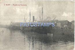 80317 SPAIN ESPAÑA GIJON ASTURIAS DOCK MUELLE DE FOMENTO & SHIP POSTAL POSTCARD - Espagne