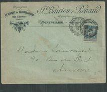 France.15cts Bleu Type Sage Oblitéré De Montpellier Enveloppe à En Tête Maison Barrion Et Renaud. Vigne Et Vin - 1876-1898 Sage (Type II)