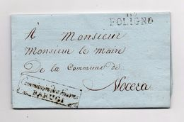 !!! PRIX FIXE : DEPT CONQUIS, 117 DEPT DU TRASIMENE, MARQUE POSTALE DE FOLIGNO + MARQUE COMMISSAIRE DES GUERRES BARUGI - Postmark Collection (Covers)