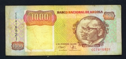 ANGOLA  -  04/02/1991  1000 Kwanzas  Circulated Banknote  - Condition And Serial Number As Scans - Angola