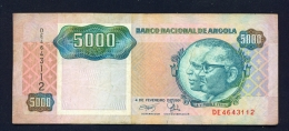 ANGOLA  -  04/07/1991  5000 Kwanzas  Circulated Banknote  - Condition And Serial Number As Scans - Angola