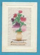 CPA Fantaisie Brodée Sur Soie Fleur Souvenir - Embroidered